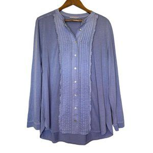 Soft Surroundings Lilac Pleated Button Up Blouse